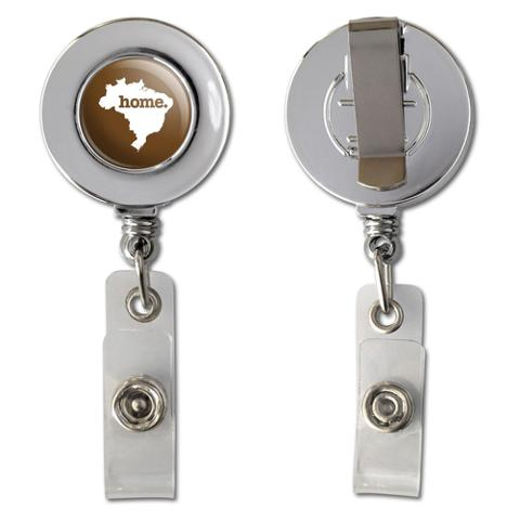 Brazil Home Country Chrome Badge ID Card Holder - Solid Brown
