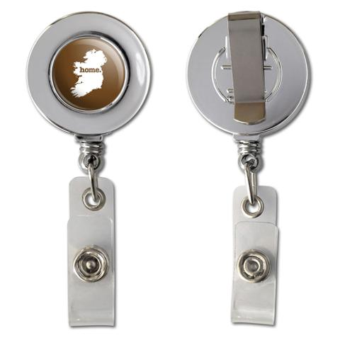 Ireland Home Country Chrome Badge ID Card Holder - Solid Brown