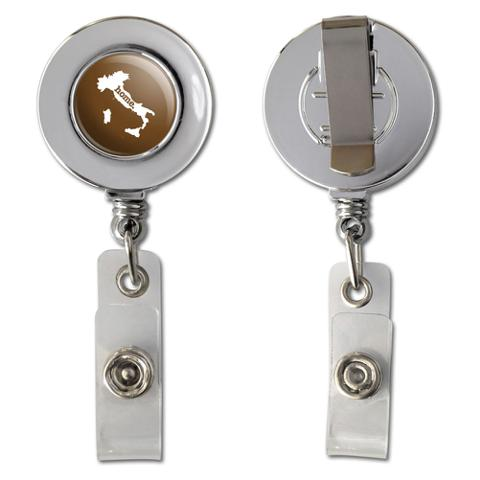 Italy Home Country Chrome Badge ID Card Holder - Solid Brown