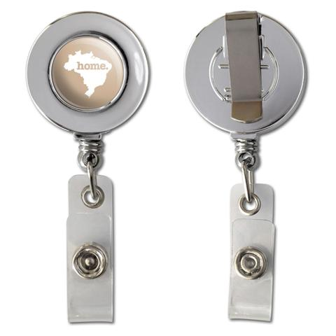Brazil Home Country Chrome Badge ID Card Holder - Solid Tan