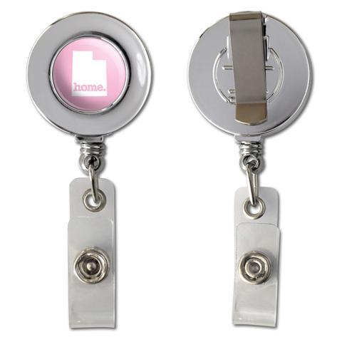 Utah UT Home State Chrome Badge ID Card Holder - Solid Light Pink