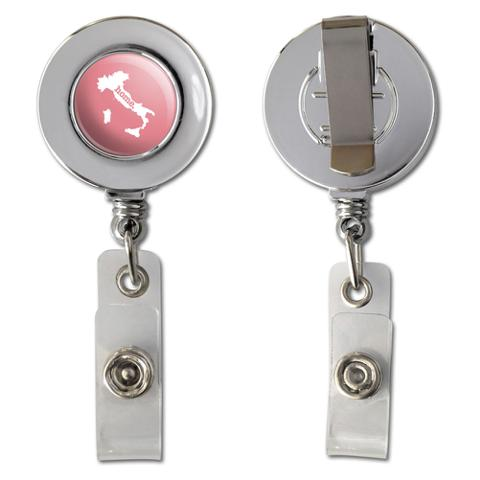 Italy Home Country Chrome Badge ID Card Holder - Solid Salmon Pink