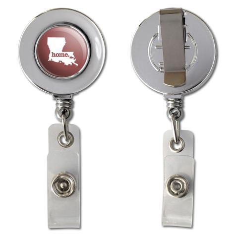 Louisiana LA Home State Chrome Badge ID Card Holder - Solid Marsala Wine