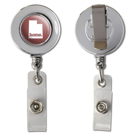 Utah UT Home State Chrome Badge ID Card Holder - Solid Marsala Wine