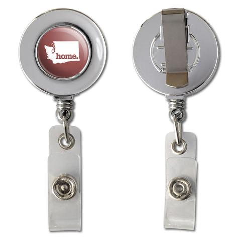 Washington WA Home State Chrome Badge ID Card Holder - Solid Marsala Wine
