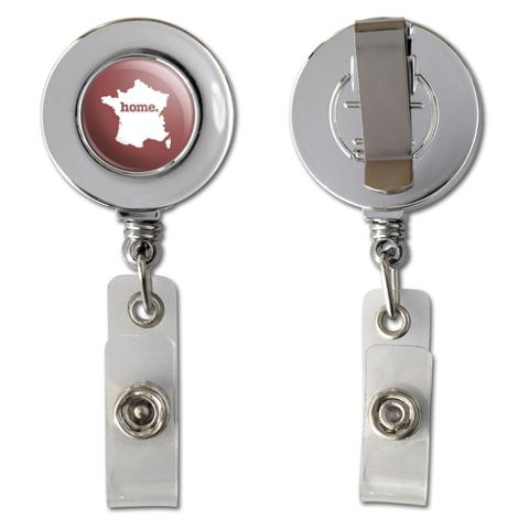 France Home Country Chrome Badge ID Card Holder - Solid Marsala Wine
