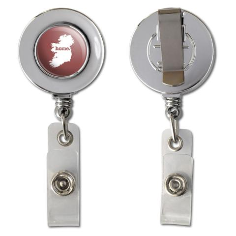 Ireland Home Country Chrome Badge ID Card Holder - Solid Marsala Wine