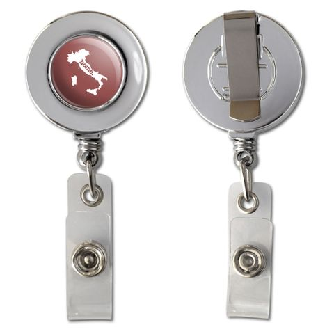 Italy Home Country Chrome Badge ID Card Holder - Solid Marsala Wine
