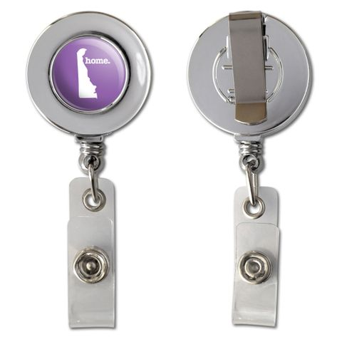 Delaware DE Home State Chrome Badge ID Card Holder - Solid Lavender Purple