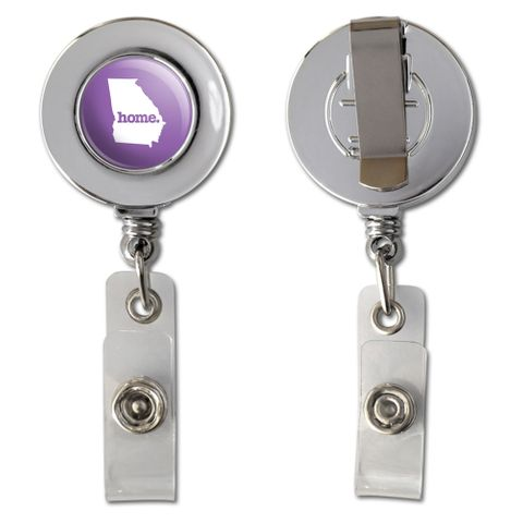 Georgia GA Home State Chrome Badge ID Card Holder - Solid Lavender Purple