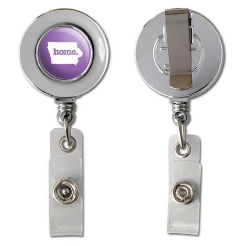 Iowa IA Home State Chrome Badge ID Card Holder - Solid Lavender Purple