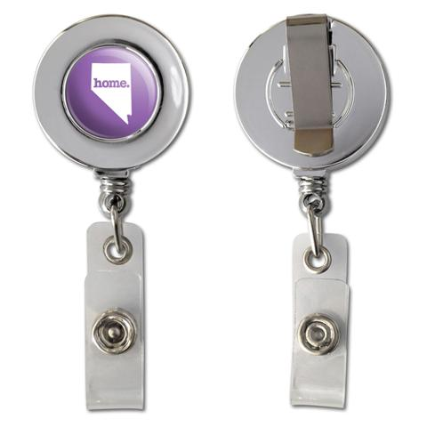 Nevada NV Home State Chrome Badge ID Card Holder - Solid Lavender Purple