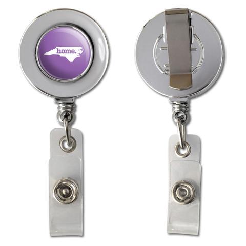 North Carolina NC Home State Chrome Badge ID Card Holder - Solid Lavender Purple