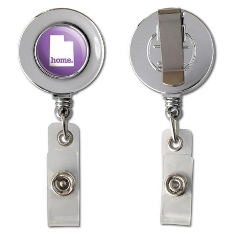 Utah UT Home State Chrome Badge ID Card Holder - Solid Lavender Purple