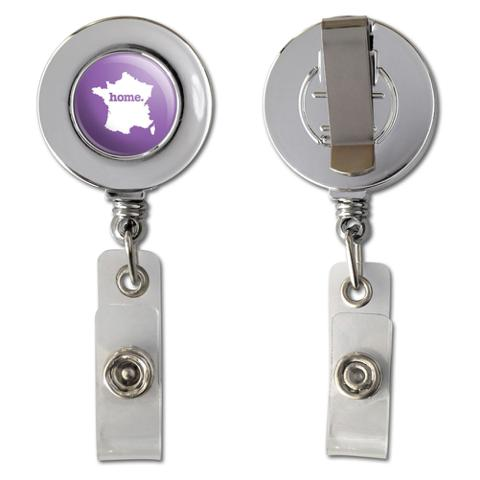 France Home Country Chrome Badge ID Card Holder - Solid Lavender Purple