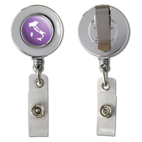 Italy Home Country Chrome Badge ID Card Holder - Solid Lavender Purple