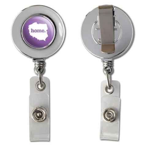 Poland Home Country Chrome Badge ID Card Holder - Solid Lavender Purple