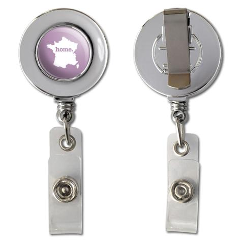 France Home Country Chrome Badge ID Card Holder - Solid Light Rose