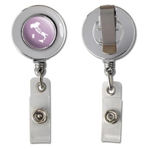 Italy Home Country Chrome Badge ID Card Holder - Solid Light Rose