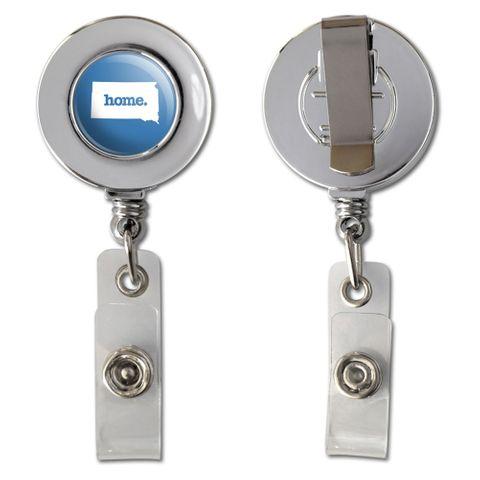 South Dakota SD Home State Chrome Badge ID Card Holder - Solid Denim Blue