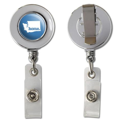 Washington WA Home State Chrome Badge ID Card Holder - Solid Denim Blue
