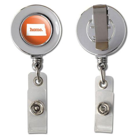 North Dakota ND Home State Chrome Badge ID Card Holder - Solid Orange