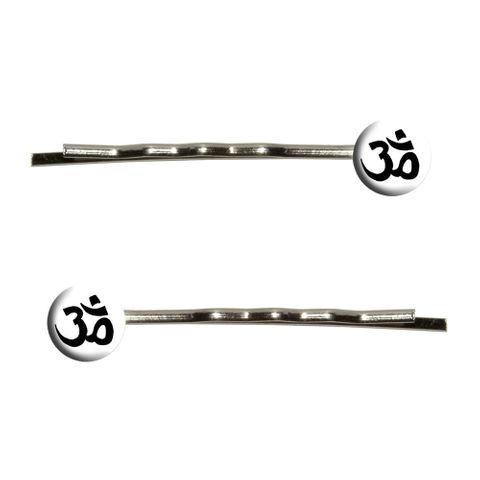 Om Aum Yoga Namaste Black on White Bobby Pin Hair Clips
