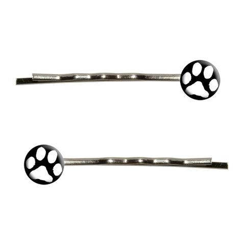 Paw Print White on Black Bobby Pin Hair Clips