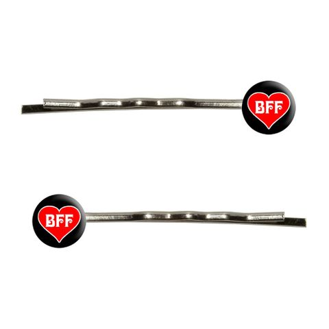 BFF - Best Friends Forever - Red Heart Bobby Pin Hair Clips