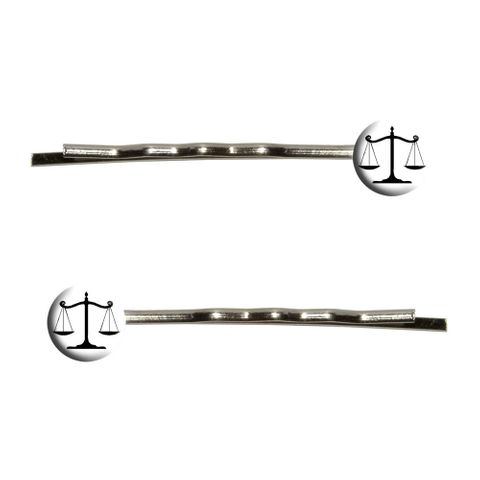Balanced Scales of Justice Symbol Legal Lawyer White and Black Bobby Pin Hair Clips