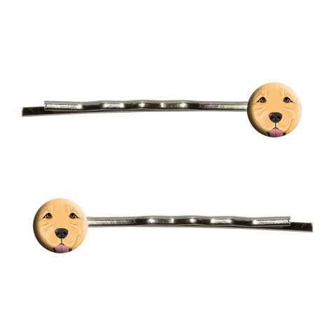 Golden Retriever Face - Pet Dog Bobby Pin Hair Clips