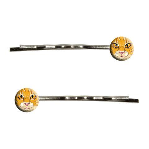 Orange Tabby Cat Face - Pet Kitty Bobby Pin Hair Clips