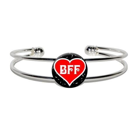 BFF - Best Friends Forever - Red Heart Silver Plated Metal Cuff Bracelet