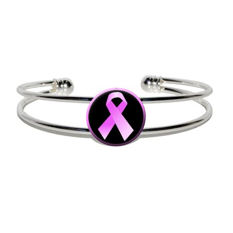 Breast Cancer Awareness Ribbon Silver Plated Metal Cuff Bracelet