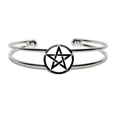 Pentagram - Wicca Witch Silver Plated Metal Cuff Bracelet