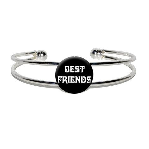 Best Friends On Black Silver Plated Metal Cuff Bracelet