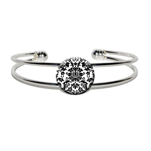 Damask Print Black And White Silver Plated Metal Cuff Bracelet