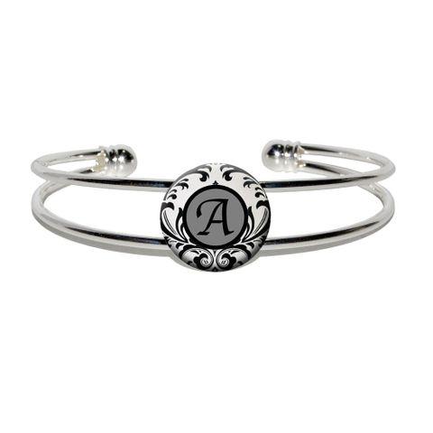 Letter A Formal Fancy Silver Plated Metal Cuff Bracelet