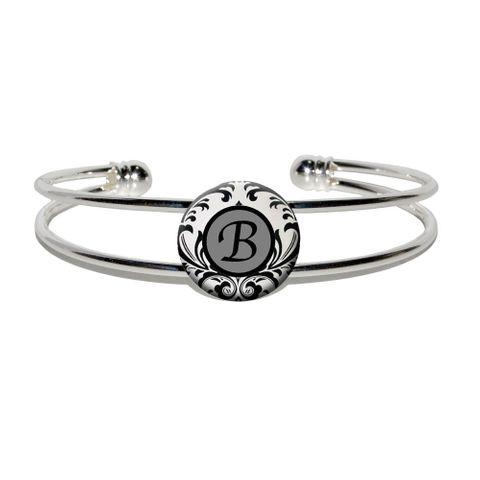 Letter B Formal Fancy Silver Plated Metal Cuff Bracelet