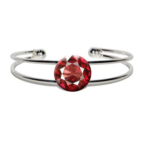 Garnet January Birthstone - Faux Resin Silver Plated Metal Cuff Bracelet