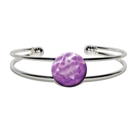Amethyst February Birthstone - Faux Resin Silver Plated Metal Cuff Bracelet
