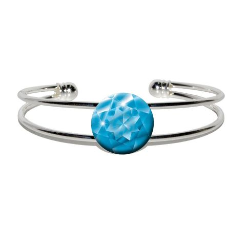 Aquamarine March Birthstone - Faux Resin Silver Plated Metal Cuff Bracelet