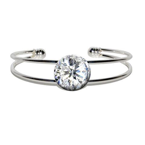 Diamond April Birthstone - Faux Resin Silver Plated Metal Cuff Bracelet