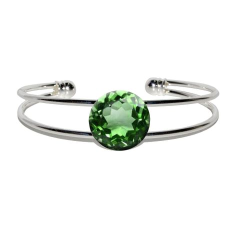Emerald May Birthstone - Faux Resin Silver Plated Metal Cuff Bracelet