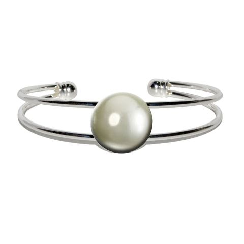 Pearl June Birthstone - Faux Resin Silver Plated Metal Cuff Bracelet
