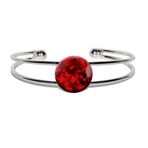 Ruby July Birthstone - Faux Resin Silver Plated Metal Cuff Bracelet