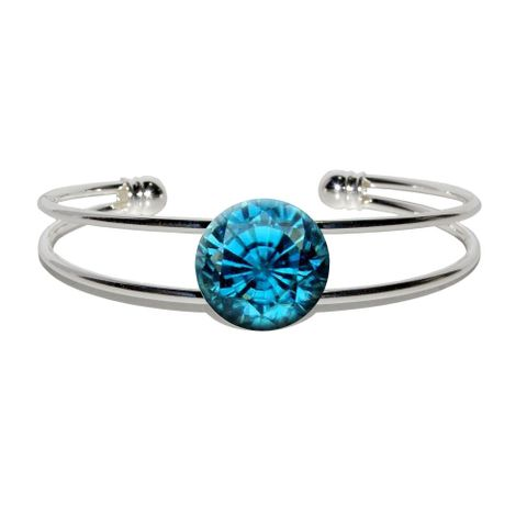 Zircon December Birthstone - Faux Resin Silver Plated Metal Cuff Bracelet