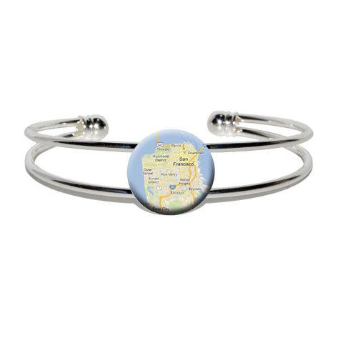 San Francisco - Northern California Silver Plated Metal Cuff Bracelet