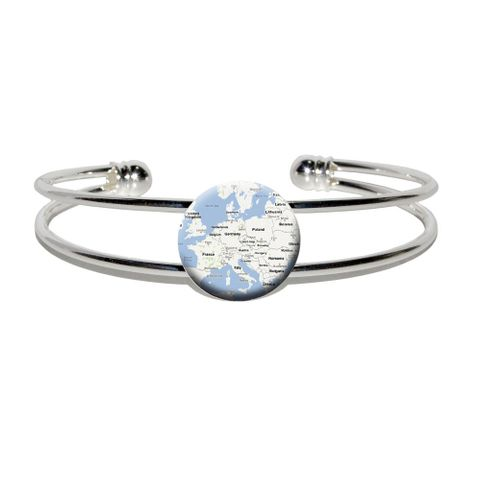 Europe Map - Favorite Places Silver Plated Metal Cuff Bracelet