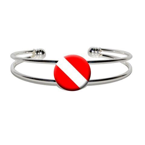 Scuba Diver Flag - Diving Silver Plated Metal Cuff Bracelet